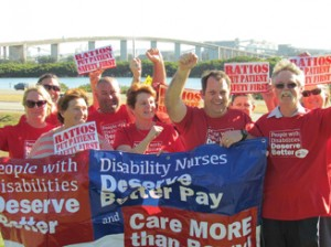 Disability nurses from Stockton Branch show their support for public health system nurses and their campaign for better ratios.