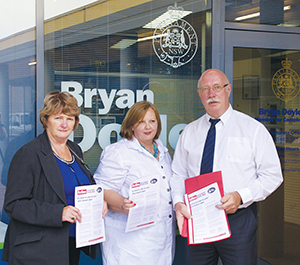 Michelle Callard, Cathy Taylor and Jeff Crebert from Campbelltown Hospital visit their local MP Bryan Doyle.