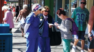 Gathering signatures in Nowra.