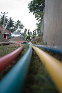 cable being laid roadside