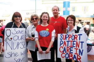 At the Cobar nurses' rally, from left: RN Cheryl Black, Denise Cohen, Genie McMullen, Dr Ruben Edyp and Abbi Josephson.