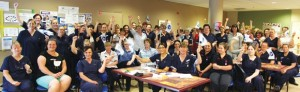 More than 80 union members from every department met at the hospital to discuss the cuts.