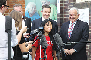 Jocelyn Hoffman spoke to the media, with Mark Butler MP.