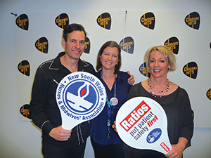 Brendan 'Jonesy' Jones and Amanda Keller (WSFM101.7) with Laura McKone lend their support.