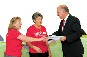 Jan Howard and Maryann Krug gave the signed petitions to Tony Windsor MP.