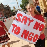 Kayley daughter of a Stockton Centre Nurse 'Says NO to NGO' at Maitland