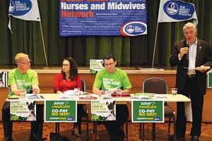 Michael Whaites (NSWNMA), Juliette Ashton (CPSU), Brett Holmes (NSWNMA) and Arthur Rorris (South Coast Labour Council) at the Robin Hood Tax tour.