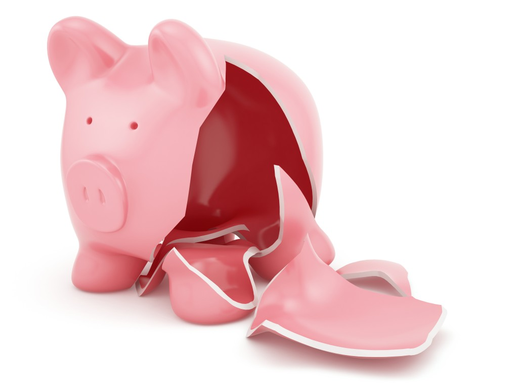 3d render of empty broken piggy bank